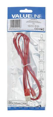 USB sync & charge-kabel lightning mannelijk - USB A mannelijk 1,00 m rood