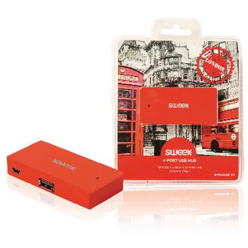 4-poorts USB-hub London rood