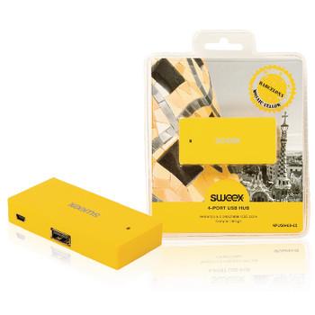 4-poorts USB-hub Barcelona geel